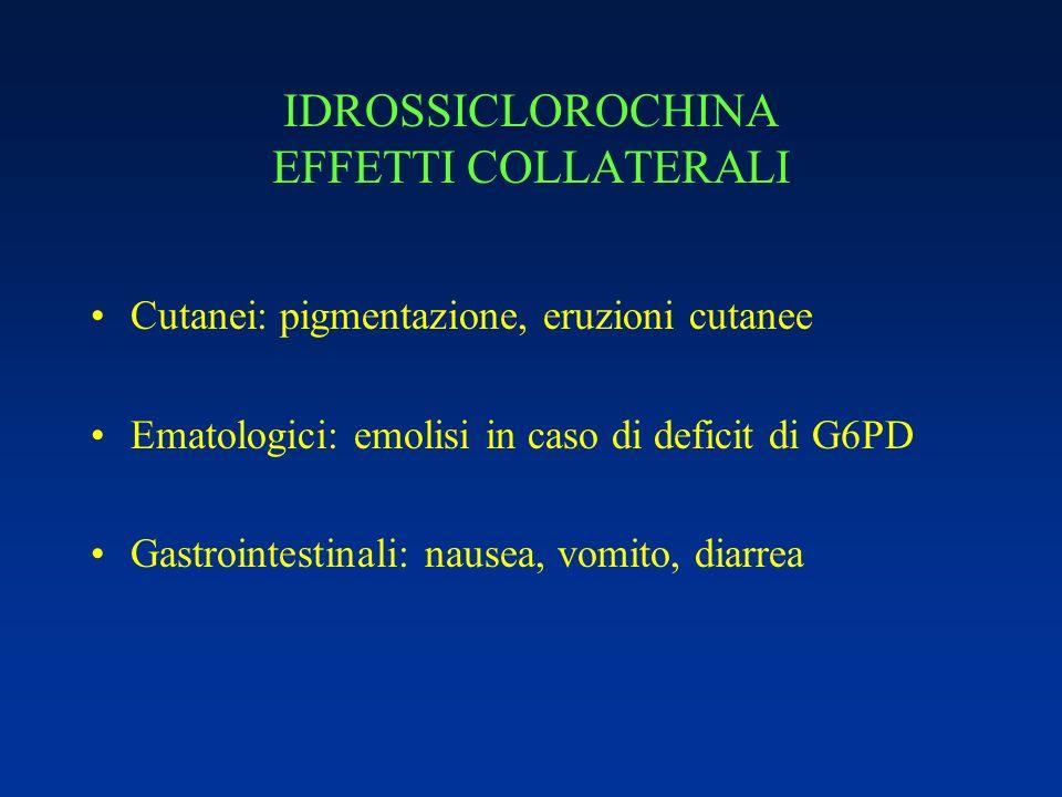 IDROSSICLOROCHINA EFFETTI COLLATERALI Cutanei: pigmentazione, eruzioni cutanee Ematologici: emolisi in caso di deficit di G6PD Gastrointestinali: naus
