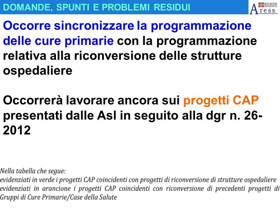 Occorre sincronizzare la programmazione delle cure primarie con la programmazione relativa alla riconversione delle strutture ospedaliere Occorrerà la