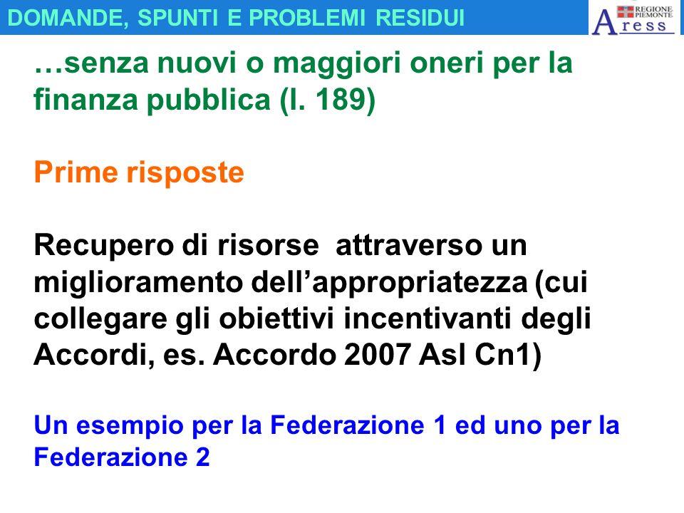 …senza nuovi o maggiori oneri per la finanza pubblica (l. 189) Prime risposte Recupero di risorse attraverso un miglioramento dellappropriatezza (cui