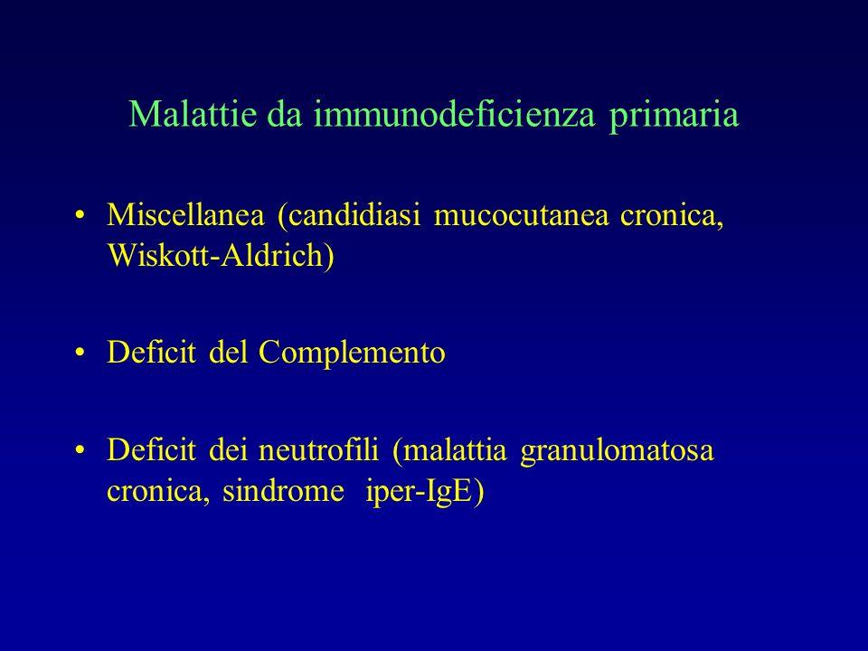 Deficit immunità umorale Infezioni ricorrenti con batteri capsulati: Sttreptococco pneumoniae, Haemophilus influenzae tipo b Se alterazione dellintegrità di cute e mucose: Stafilococco, gram neg Superano regolarmente le infezioni virali, ma non sviluppano immunità permanente (es varicella, morbillo)