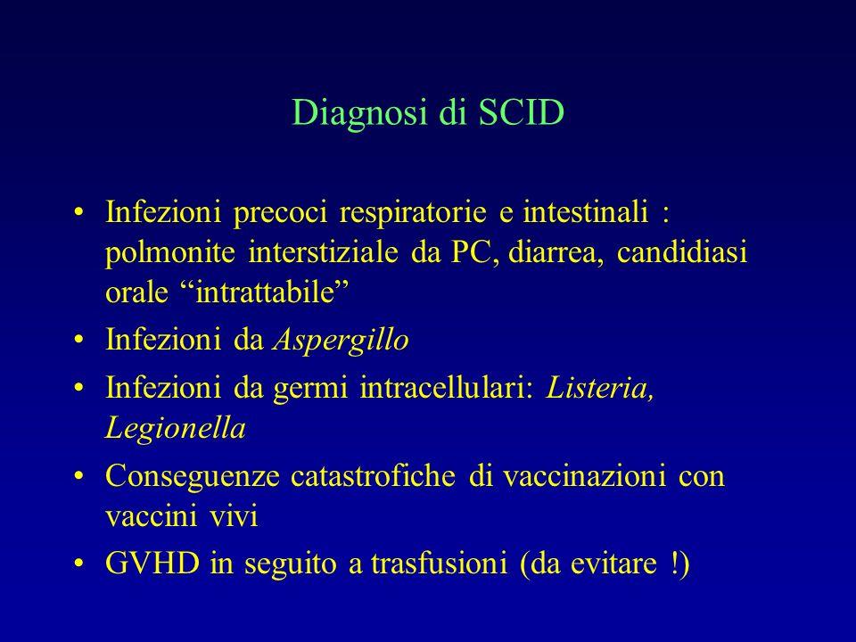 Malattia granulomatosa cronica (CGD) Comprende un gruppo di malattie ereditarie rare con fenotipo comune Deficit di NADPH ossidasi Infezioni ricorrenti e gravi con germi catalasi pos (Stafilococco, Burkholderia cepacia, Serratia,Aspergillo, Nocardia) Diagnosi con test NBT o test di ossidazione della diidrorodamina (DHR) Profilassi antibiotica (TMP-SMX) e anti-fungina (itraconazolo) + in casi ari IFN-gamma