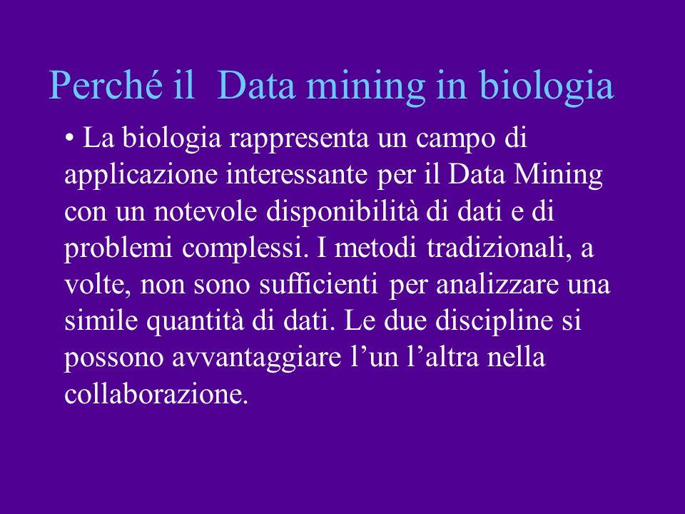 Perché il Data mining in biologia La biologia rappresenta un campo di applicazione interessante per il Data Mining con un notevole disponibilità di da