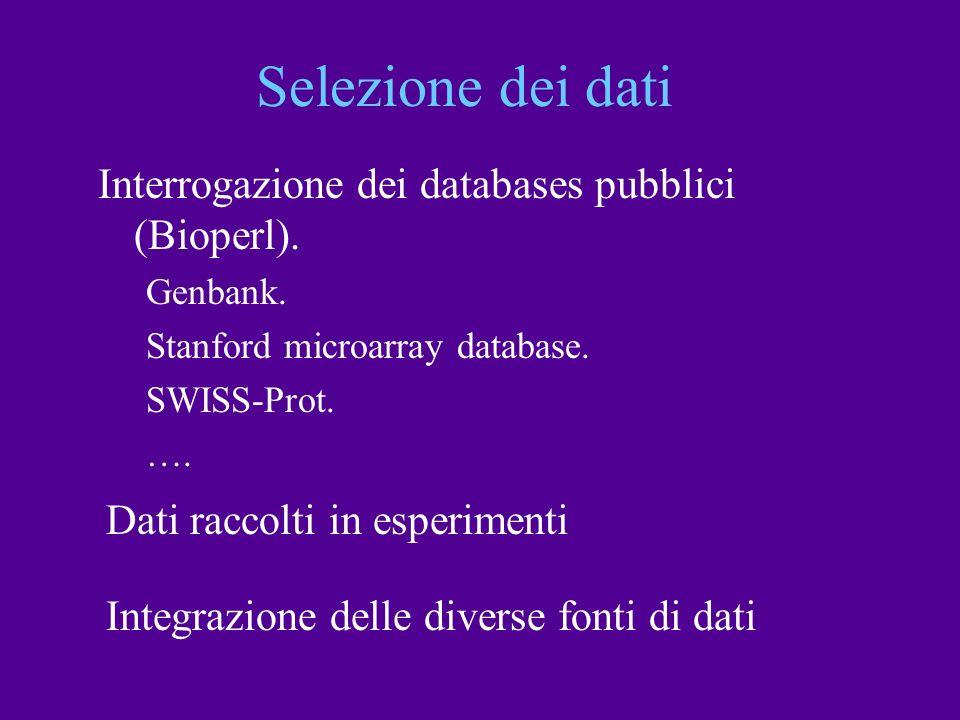 Selezione dei dati Interrogazione dei databases pubblici (Bioperl). Genbank. Stanford microarray database. SWISS-Prot. …. Dati raccolti in esperimenti