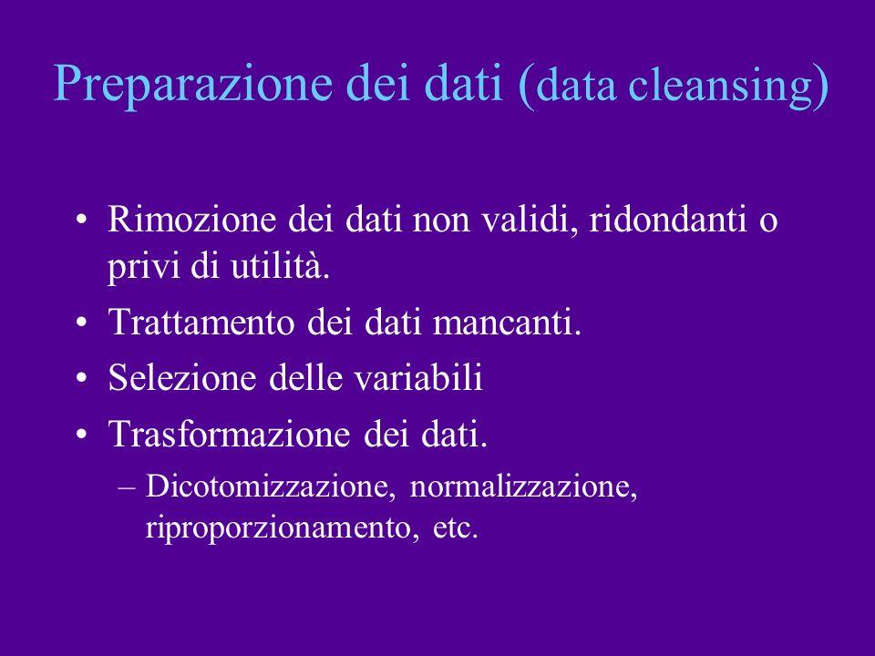 Preparazione dei dati ( data cleansing ) Rimozione dei dati non validi, ridondanti o privi di utilità. Trattamento dei dati mancanti. Selezione delle