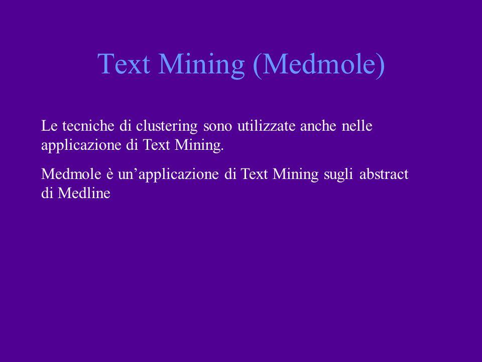 Le tecniche di clustering sono utilizzate anche nelle applicazione di Text Mining. Medmole è unapplicazione di Text Mining sugli abstract di Medline T