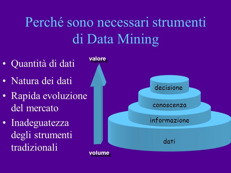 volume valore dati informazione conoscenza decisione Quantità di dati Natura dei dati Rapida evoluzione del mercato Inadeguatezza degli strumenti trad