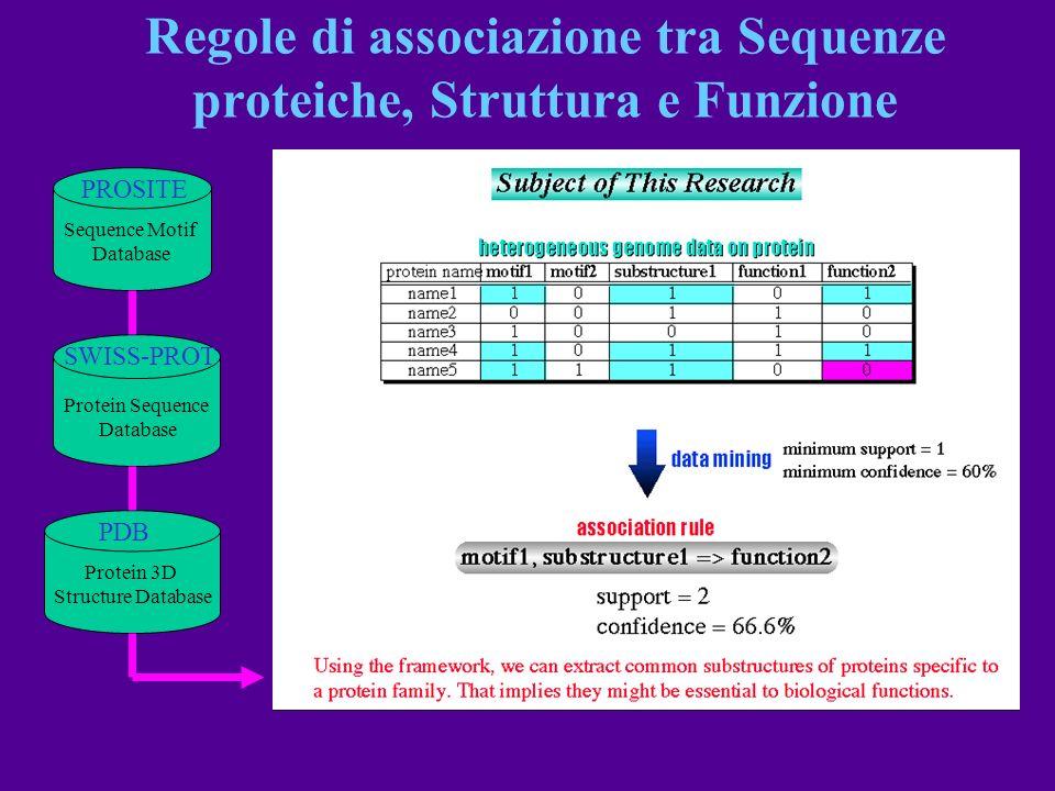 Regole di associazione tra Sequenze proteiche, Struttura e Funzione PROSITE Sequence Motif Database SWISS-PROT Protein Sequence Database PDB Protein 3
