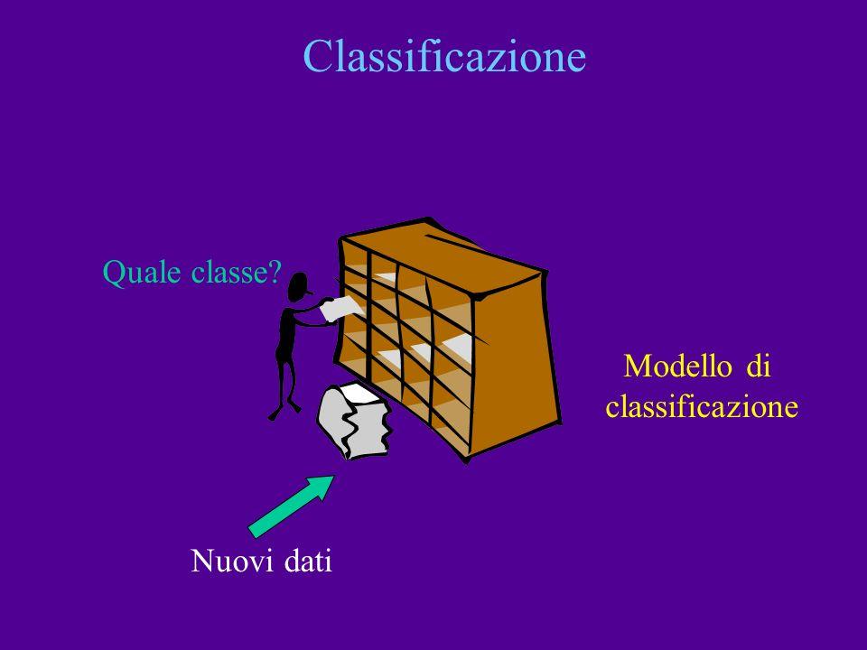 Classificazione Quale classe? Modello di classificazione Nuovi dati