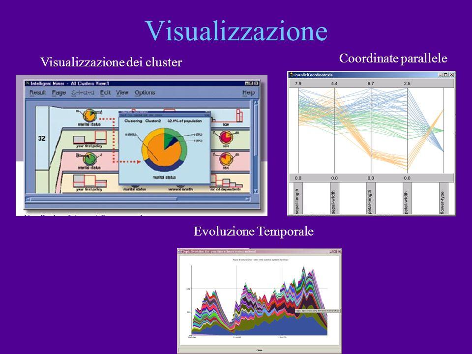 Visualizzazione Visualizzazione dei cluster Coordinate parallele Evoluzione Temporale