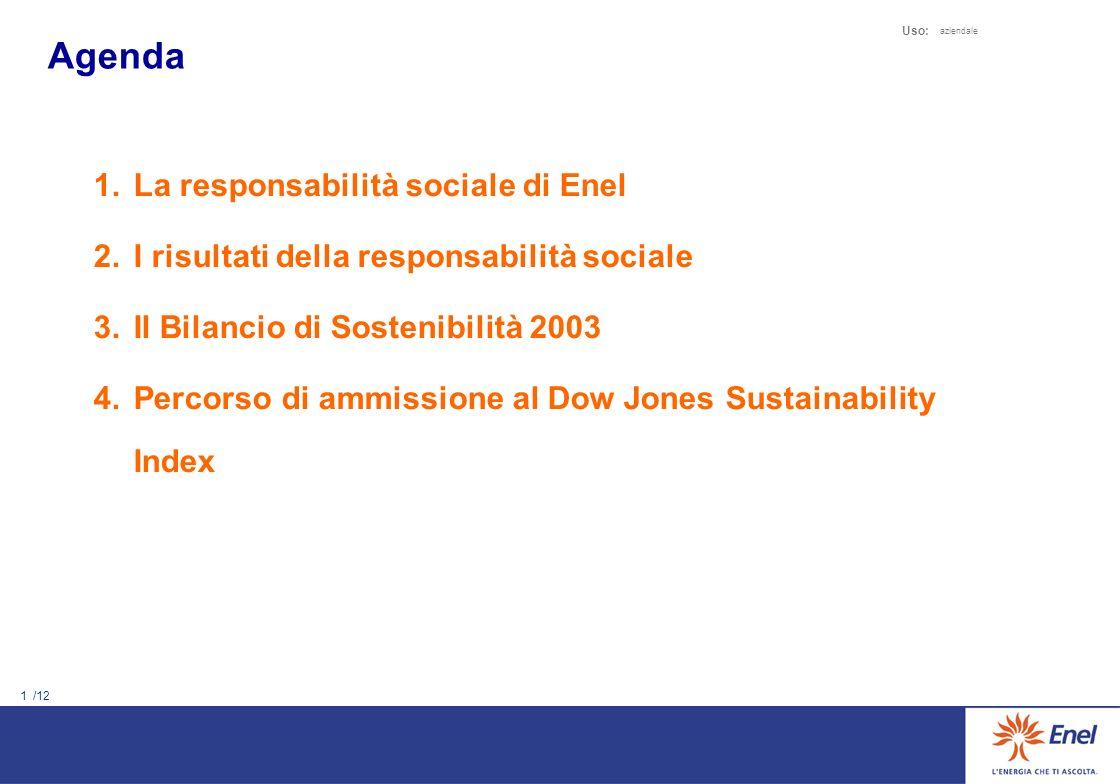 La responsabilità sociale di Enel Il Bilancio di Sostenibilità 2003 roberto.zangrandi@enel.it Roma 12.05.2004