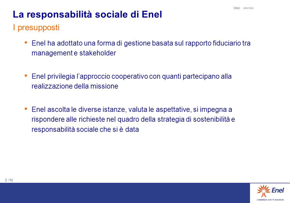 1 /12 Uso: aziendale 1.La responsabilità sociale di Enel 2.I risultati della responsabilità sociale 3.Il Bilancio di Sostenibilità 2003 4.Percorso di ammissione al Dow Jones Sustainability Index Agenda