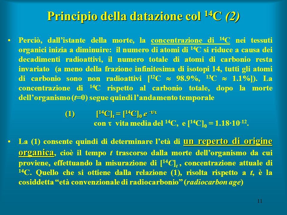 11 Principio della datazione col 14 C (2) Perciò, dallistante della morte, la concentrazione di 14 C nei tessuti organici inizia a diminuire: il numer