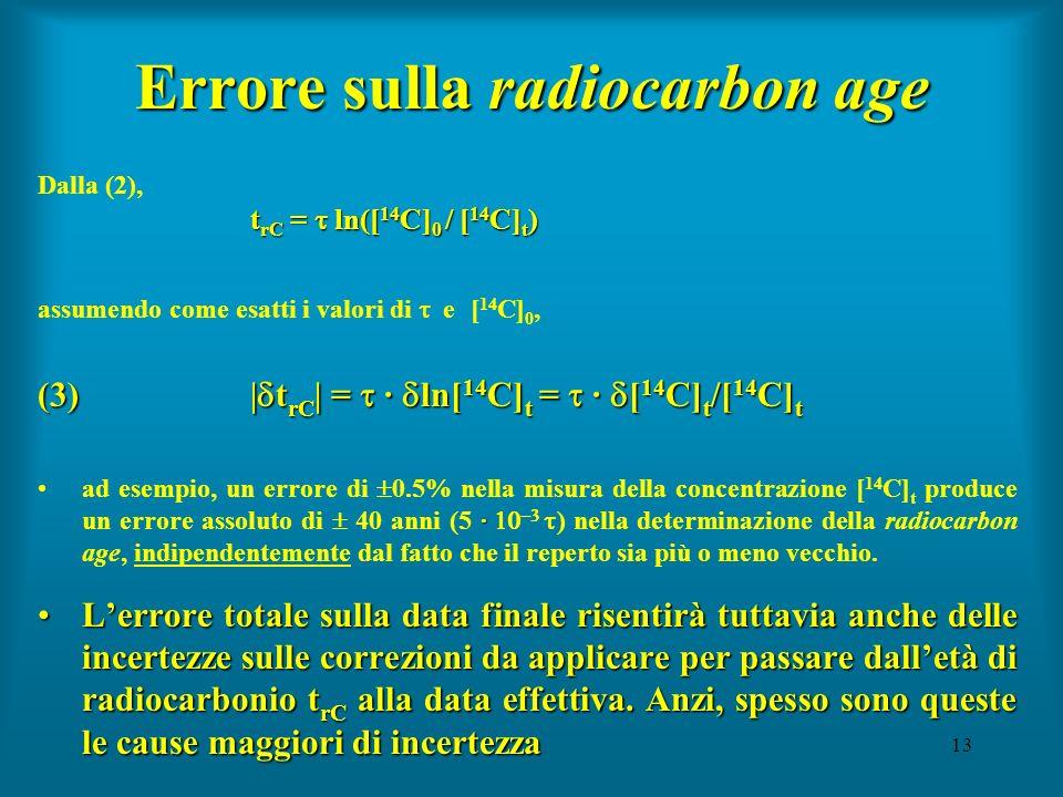 13 Errore sulla radiocarbon age t rC = ln([ 14 C] 0 / [ 14 C] t ) Dalla (2), t rC = ln([ 14 C] 0 / [ 14 C] t ) assumendo come esatti i valori di e [ 1