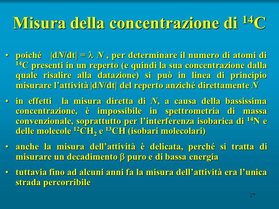 27 Misura della concentrazione di 14 C poiché |dN/dt| = N, per determinare il numero di atomi di 14 C presenti in un reperto (e quindi la sua concentr