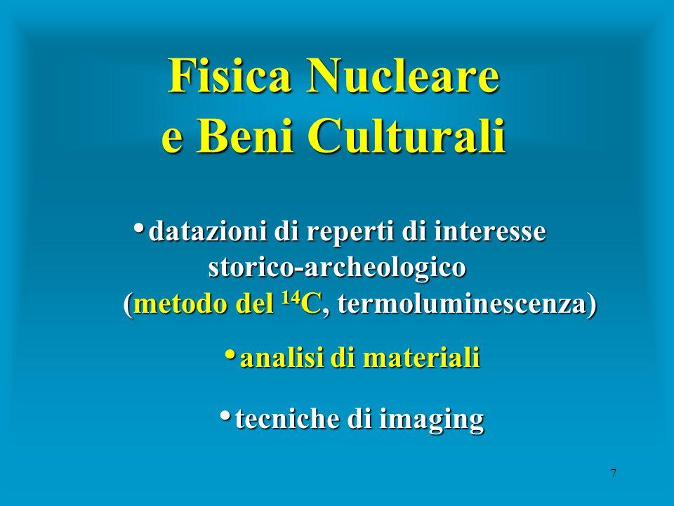 7 Fisica Nucleare e Beni Culturali datazioni di reperti di interesse storico-archeologico datazioni di reperti di interesse storico-archeologico (meto