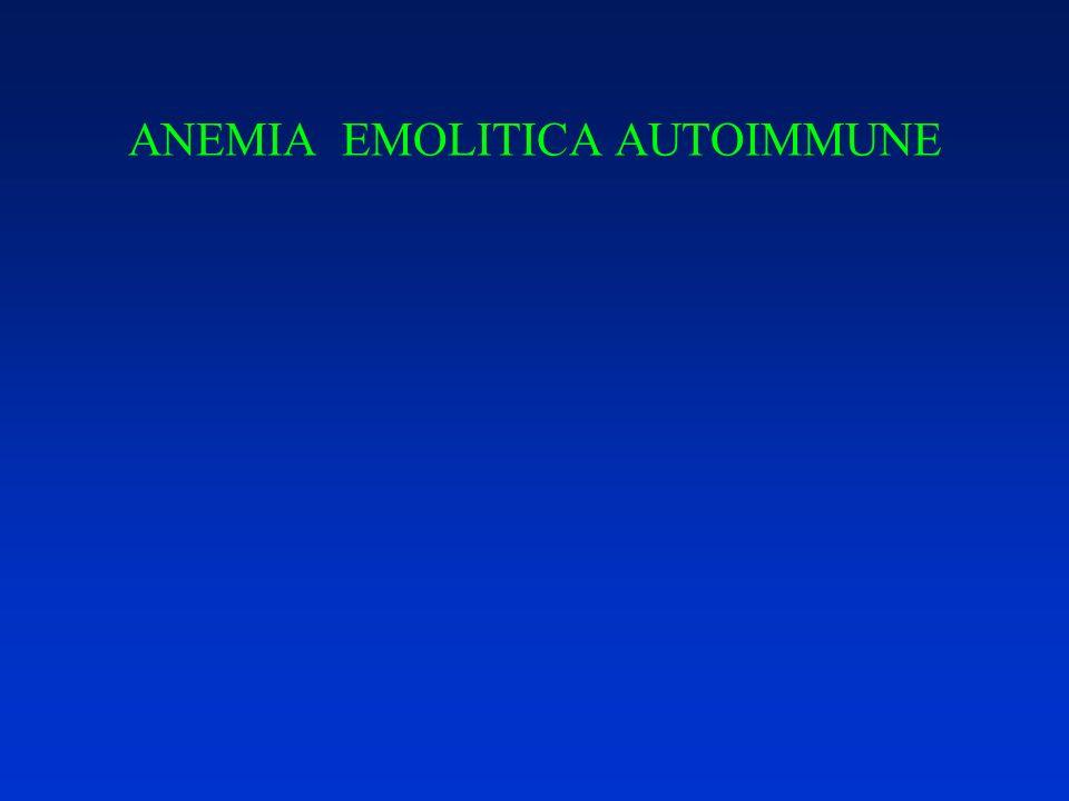 Anemia emolitica autoimmune Diagnosi Segni clinici (pallore, sub-ittero, splenomegalia) Dati di laboratorio: –reticolocitosi – bilirubina indiretta – LDH – aptoglobina –Test di Coombs diretto e indiretto (vedi)