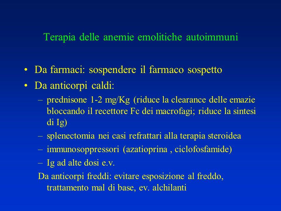 Terapia delle anemie emolitiche autoimmuni Da farmaci: sospendere il farmaco sospetto Da anticorpi caldi: –prednisone 1-2 mg/Kg (riduce la clearance d