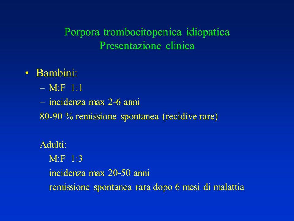 Porpora trombocitopenica idiopatica Presentazione clinica Bambini: –M:F 1:1 –incidenza max 2-6 anni 80-90 % remissione spontanea (recidive rare) Adult