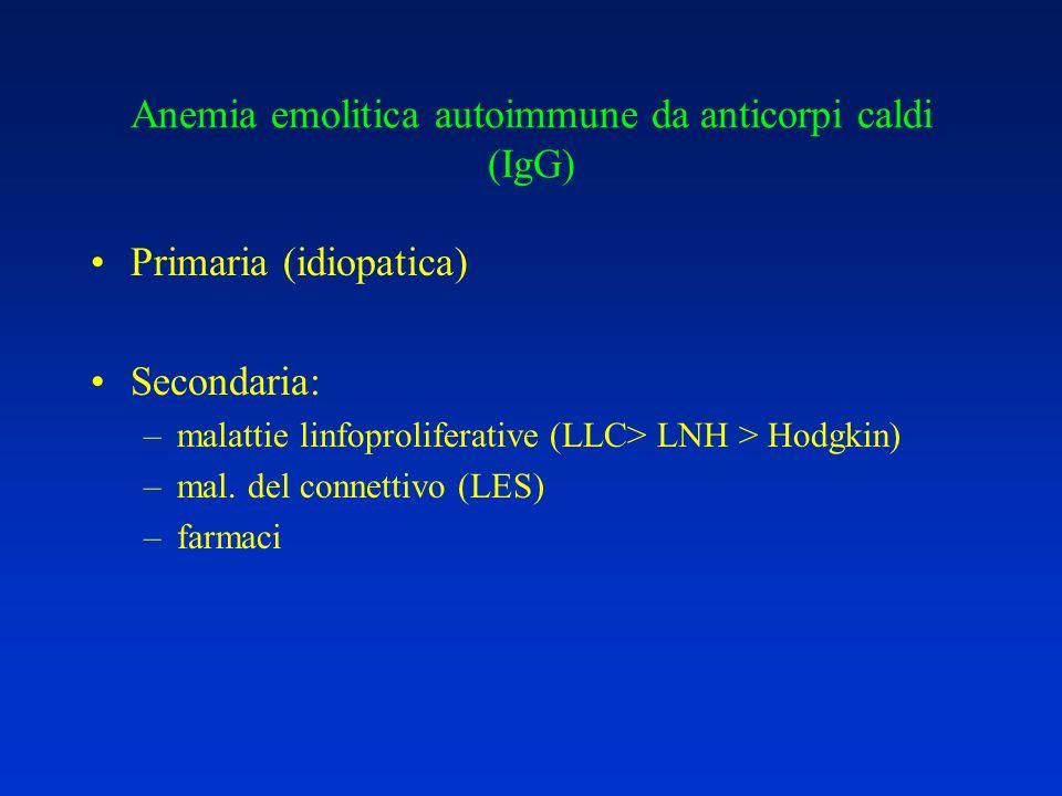 Anemia emolitica autoimmune da anticorpi caldi (IgG) E la forma più frequente (80 %) Incidenza 1-2 / 100.000 Ad ogni età (picco 7 a decade) Emolisi extravascolare (milza, fegato) IgG anti antigeni pubblici non caratteristici (sistema Rh nel 50 % dei casi)