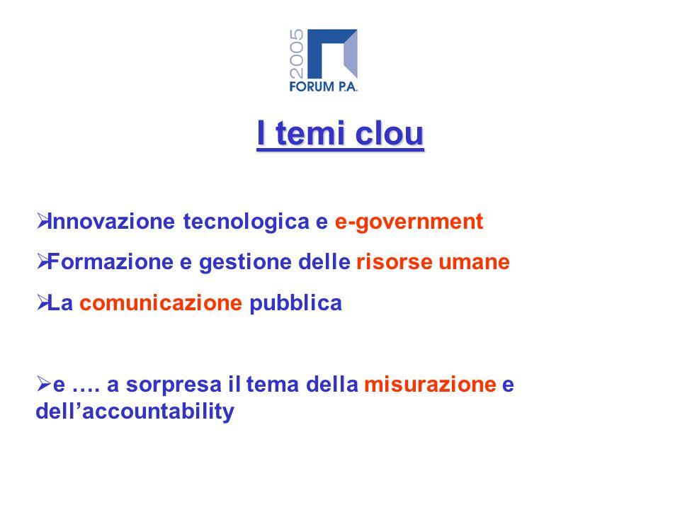 I temi clou Innovazione tecnologica e e-government Formazione e gestione delle risorse umane La comunicazione pubblica e ….