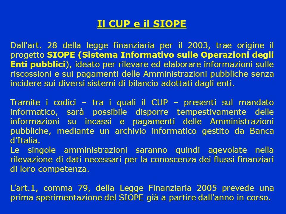 Il CUP e il SIOPE Dall'art. 28 della legge finanziaria per il 2003, trae origine il progetto SIOPE (Sistema Informativo sulle Operazioni degli Enti pu
