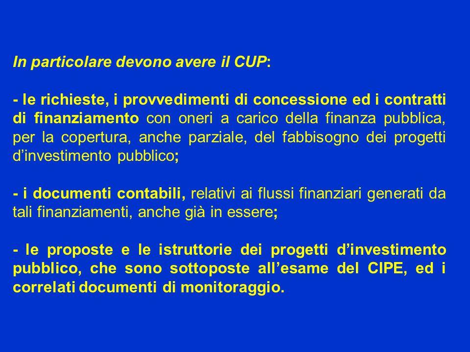 In particolare devono avere il CUP: - le richieste, i provvedimenti di concessione ed i contratti di finanziamento con oneri a carico della finanza pu