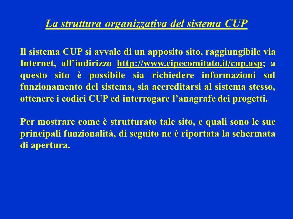 La struttura organizzativa del sistema CUP Il sistema CUP si avvale di un apposito sito, raggiungibile via Internet, allindirizzo http://www.cipecomit