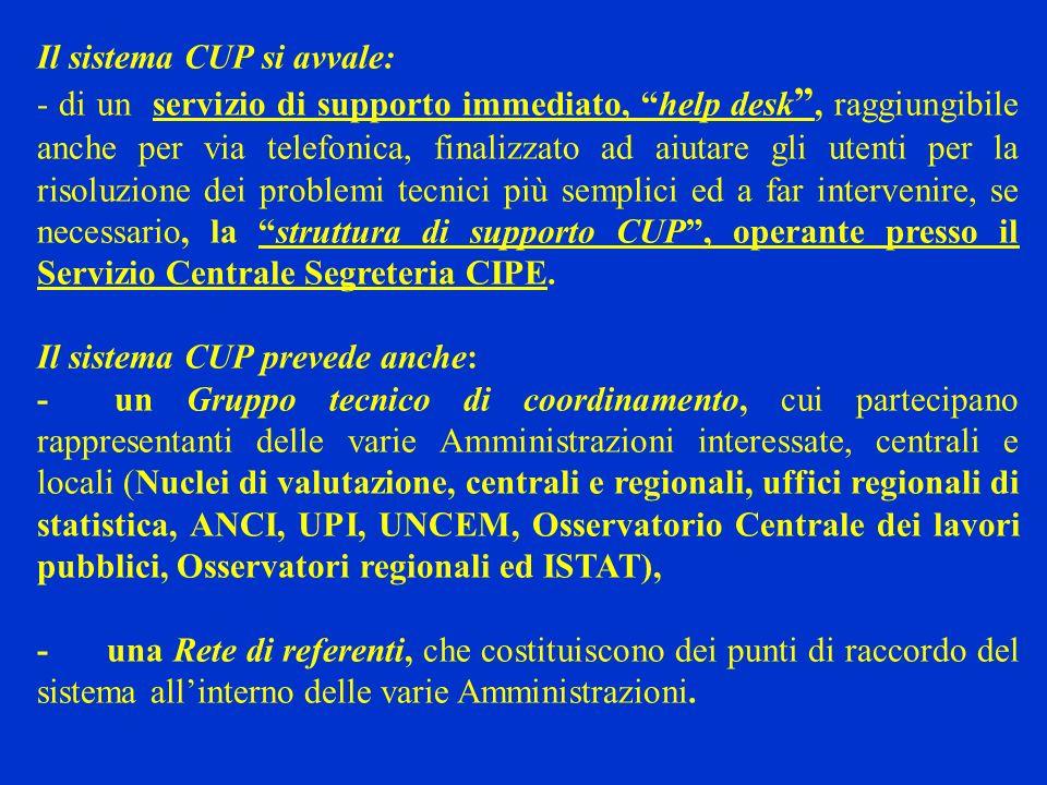 Il sistema CUP si avvale: - di un servizio di supporto immediato, help desk, raggiungibile anche per via telefonica, finalizzato ad aiutare gli utenti