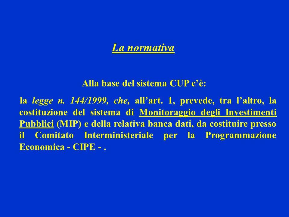 La normativa Alla base del sistema CUP cè: la legge n. 144/1999, che, allart. 1, prevede, tra laltro, la costituzione del sistema di Monitoraggio degl
