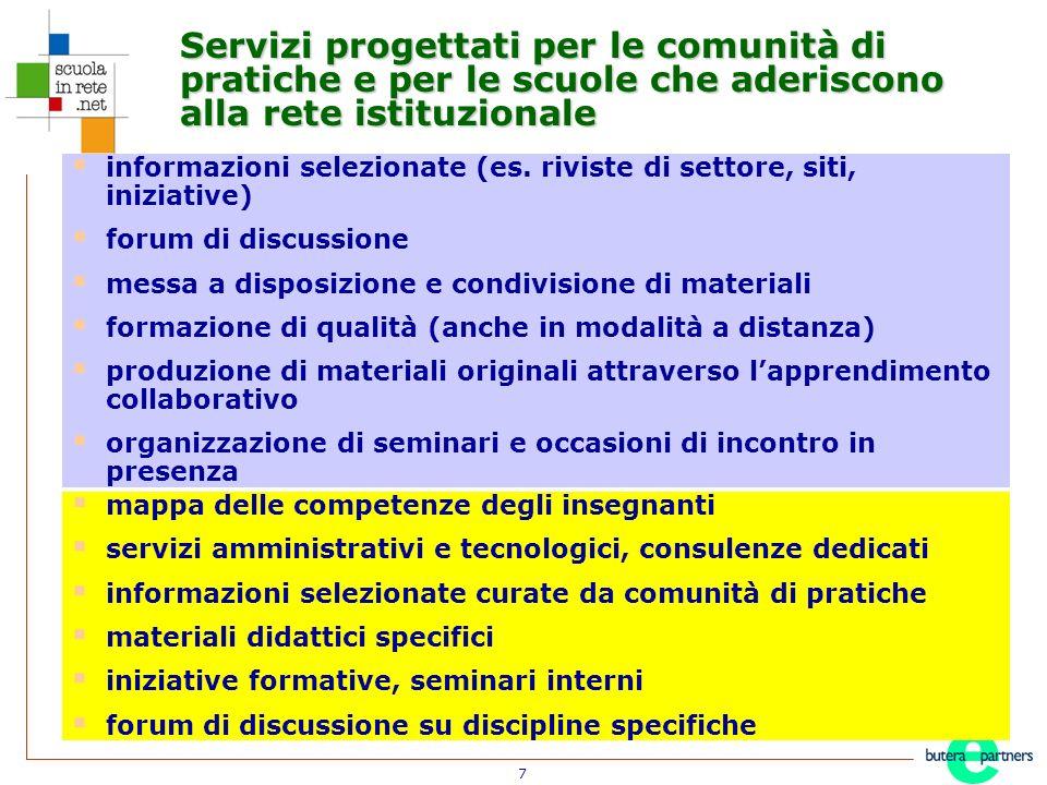 7 Servizi progettati per le comunità di pratiche e per le scuole che aderiscono alla rete istituzionale informazioni selezionate (es.
