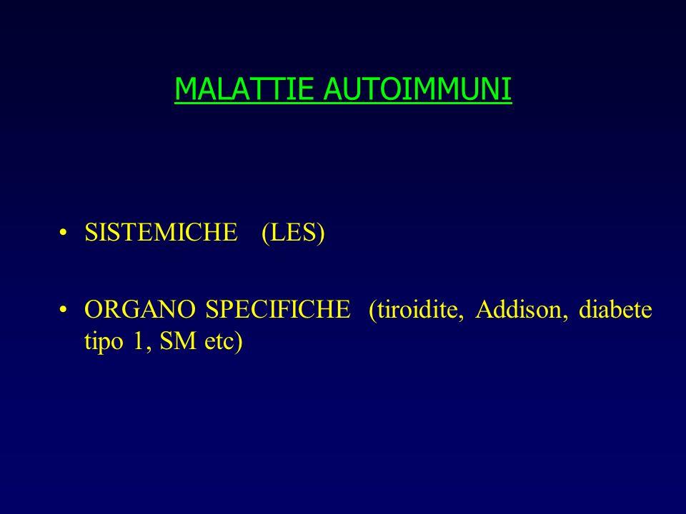 MALATTIE AUTOIMMUNI ALTERAZIONE GENERALE IN T/B CELLS (selezione, regolazione, apoptosi) esempio: deficit CD95 (Fas) e ALPS ABERRANTE RISPOSTA AD ANTIGENE PARTICOLARE (self) esempio: sindrome demielinizzante post C.