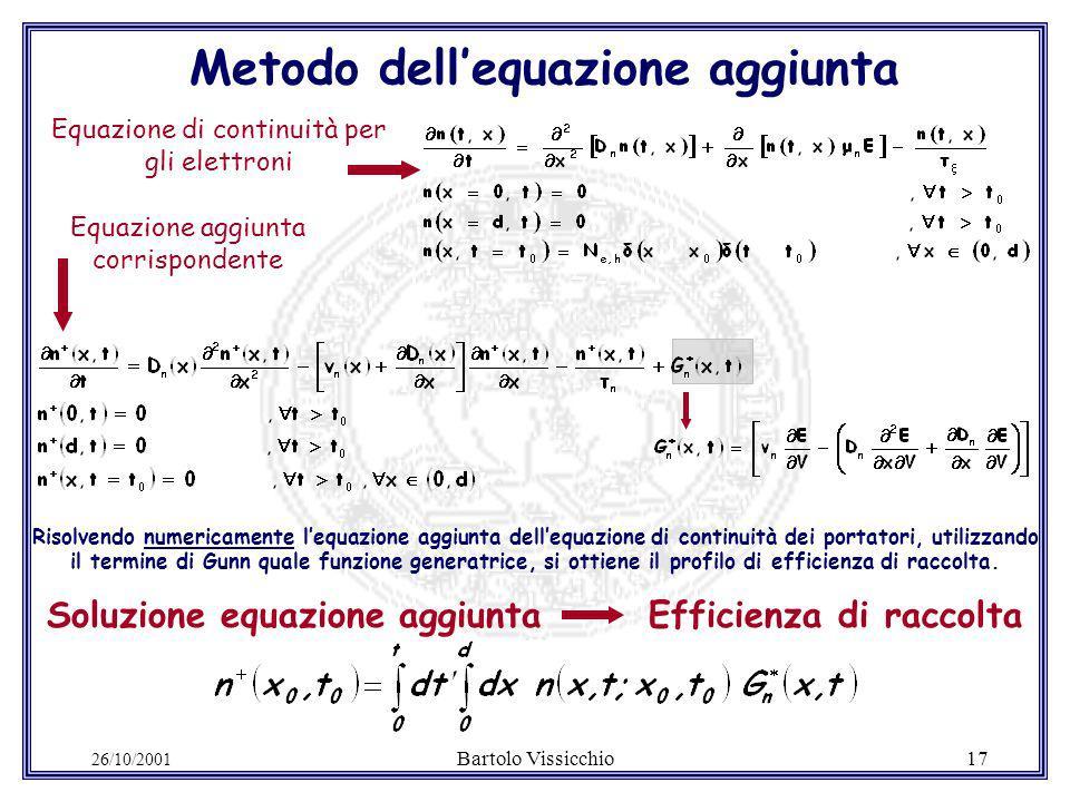 26/10/2001 Bartolo Vissicchio17 Equazione aggiunta corrispondente Risolvendo numericamente lequazione aggiunta dellequazione di continuità dei portatori, utilizzando il termine di Gunn quale funzione generatrice, si ottiene il profilo di efficienza di raccolta.
