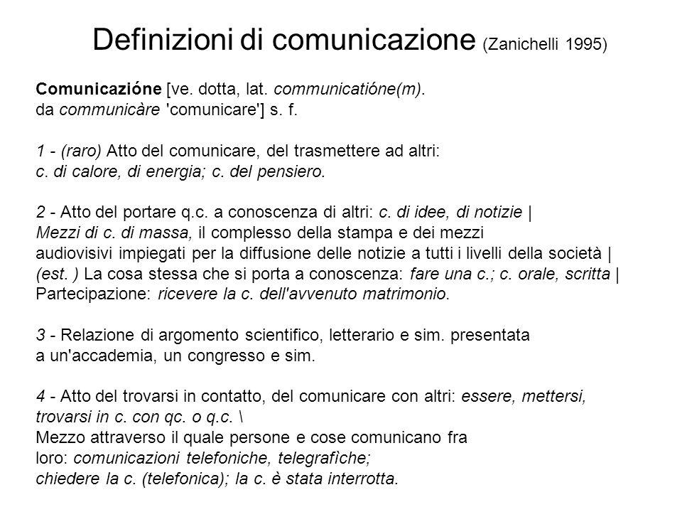 Definizioni di comunicazione (Zanichelli 1995) Comunicazióne [ve. dotta, lat. communicatióne(m). da communicàre 'comunicare'] s. f. 1 - (raro) Atto de