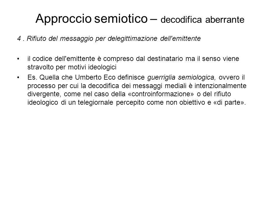 Approccio semiotico – decodifica aberrante 4. Rifiuto del messaggio per delegittimazione dell'emittente il codice dell'emittente è compreso dal destin