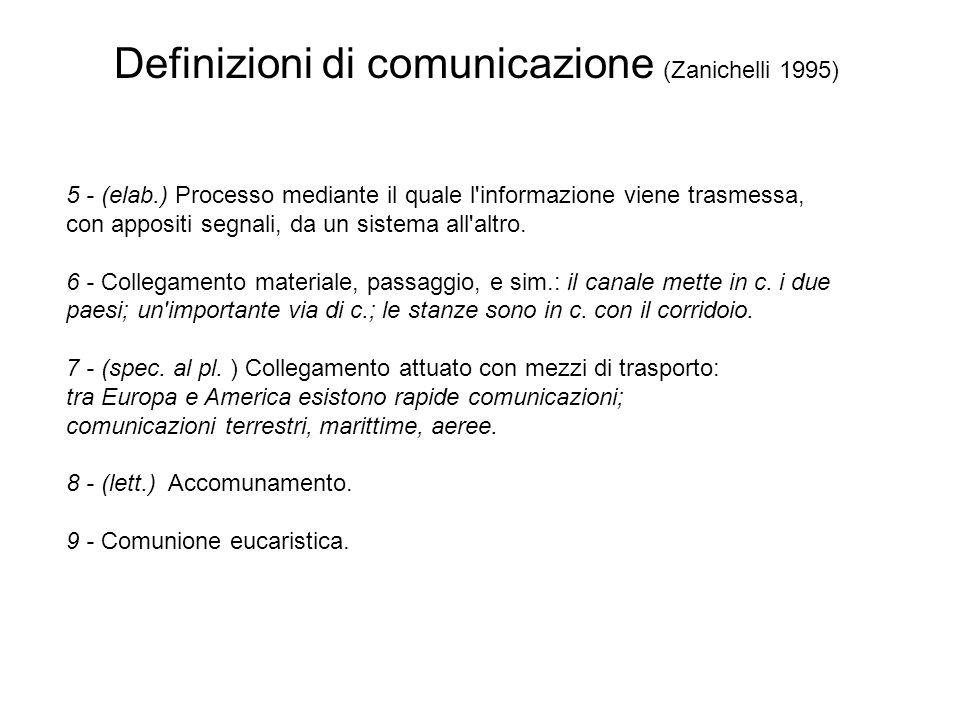 Definizioni di comunicazione (Zanichelli 1995) 5 - (elab.) Processo mediante il quale l'informazione viene trasmessa, con appositi segnali, da un sist
