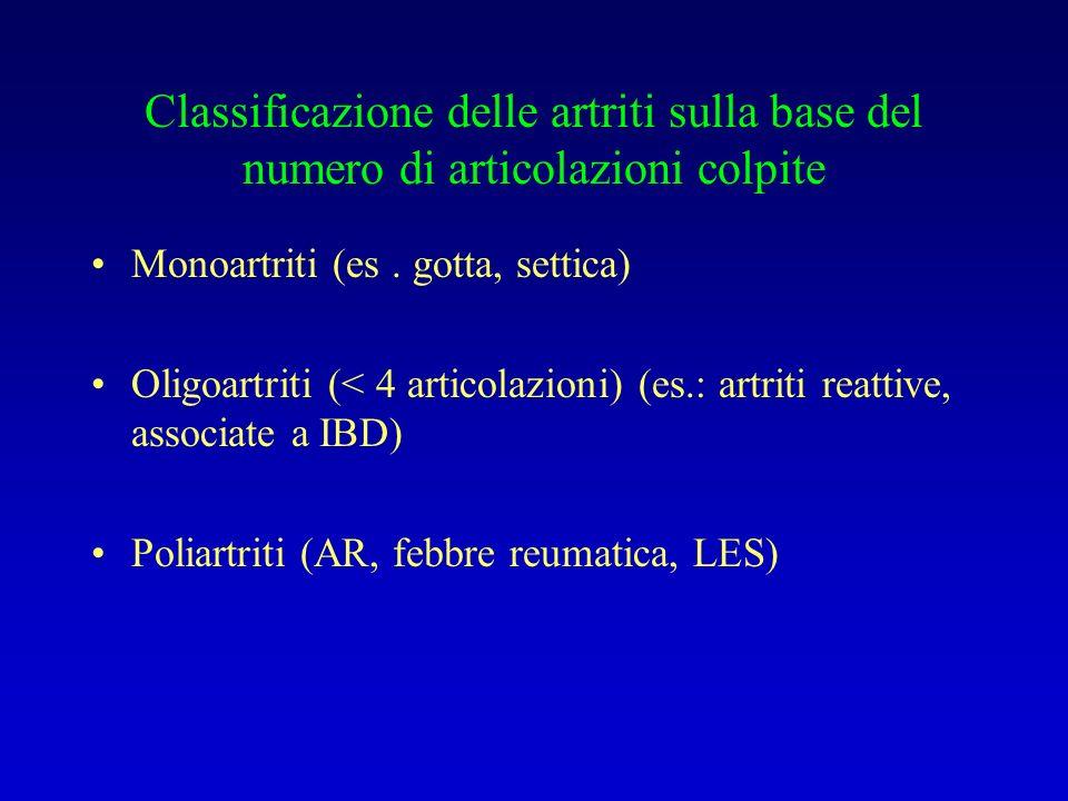 Classificazione delle artriti sulla base del numero di articolazioni colpite Monoartriti (es. gotta, settica) Oligoartriti (< 4 articolazioni) (es.: a