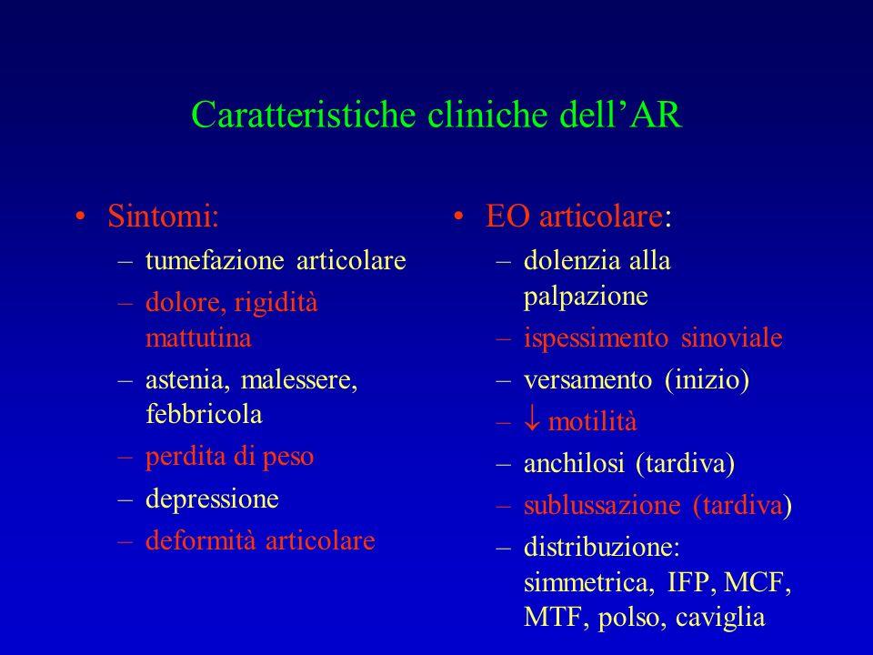 Caratteristiche cliniche dellAR Sintomi: –tumefazione articolare –dolore, rigidità mattutina –astenia, malessere, febbricola –perdita di peso –depress