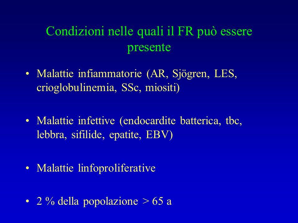Condizioni nelle quali il FR può essere presente Malattie infiammatorie (AR, Sjögren, LES, crioglobulinemia, SSc, miositi) Malattie infettive (endocar