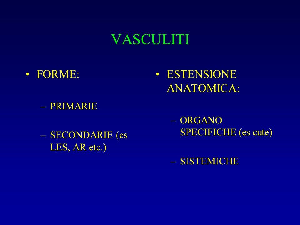 VASCULITI FORME: –PRIMARIE –SECONDARIE (es LES, AR etc.) ESTENSIONE ANATOMICA: –ORGANO SPECIFICHE (es cute) –SISTEMICHE