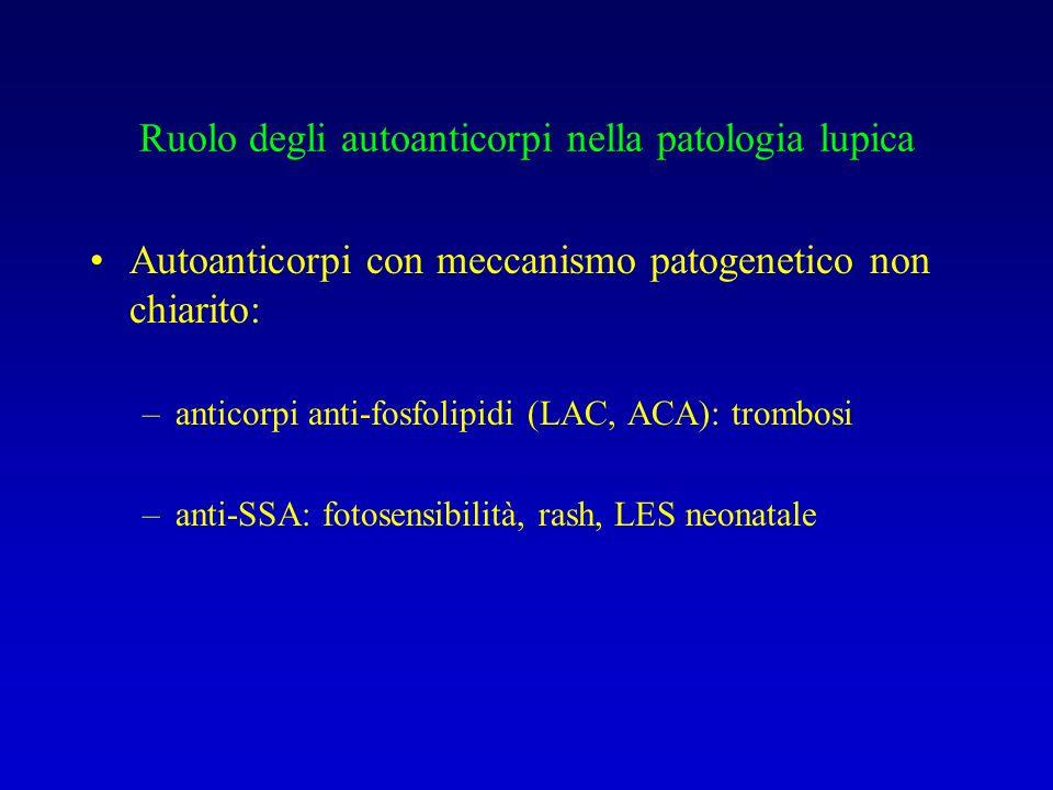 Ruolo degli autoanticorpi nella patologia lupica Autoanticorpi con meccanismo patogenetico non chiarito: –anticorpi anti-fosfolipidi (LAC, ACA): trombosi –anti-SSA: fotosensibilità, rash, LES neonatale