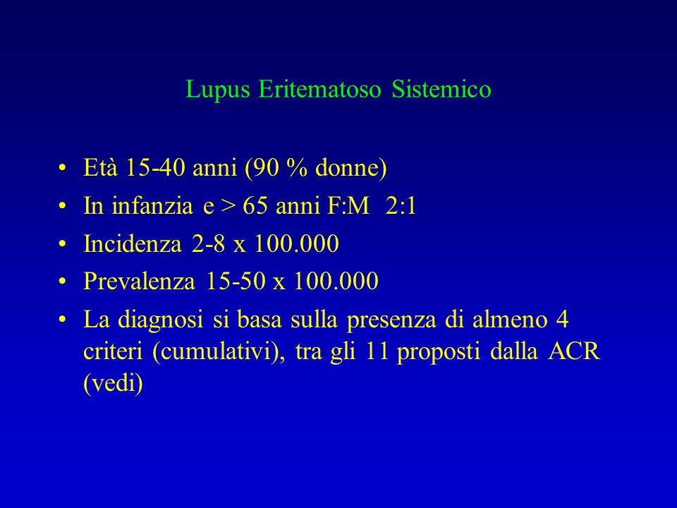 Lupus Eritematoso Sistemico Età 15-40 anni (90 % donne) In infanzia e > 65 anni F:M 2:1 Incidenza 2-8 x 100.000 Prevalenza 15-50 x 100.000 La diagnosi si basa sulla presenza di almeno 4 criteri (cumulativi), tra gli 11 proposti dalla ACR (vedi)