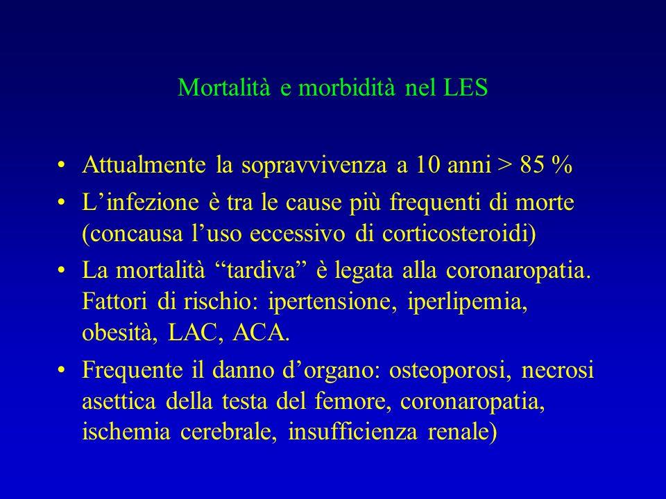 Mortalità e morbidità nel LES Attualmente la sopravvivenza a 10 anni > 85 % Linfezione è tra le cause più frequenti di morte (concausa luso eccessivo di corticosteroidi) La mortalità tardiva è legata alla coronaropatia.