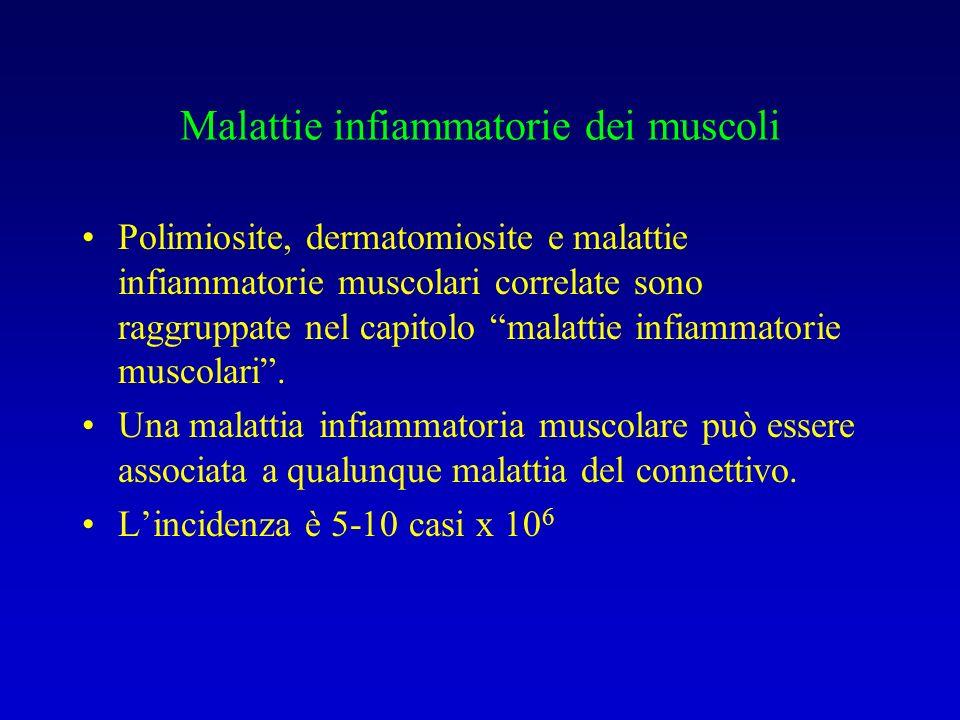 Malattie infiammatorie dei muscoli Polimiosite, dermatomiosite e malattie infiammatorie muscolari correlate sono raggruppate nel capitolo malattie infiammatorie muscolari.