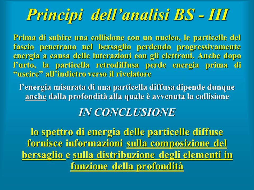 Principi dellanalisi BS - III Prima di subire una collisione con un nucleo, le particelle del fascio penetrano nel bersaglio perdendo progressivamente
