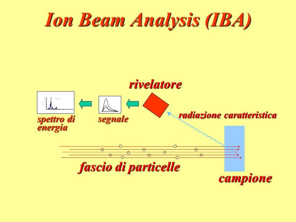 Ion Beam Analysis (IBA) campione fascio di particelle rivelatore radiazione caratteristica spettro di energia segnale