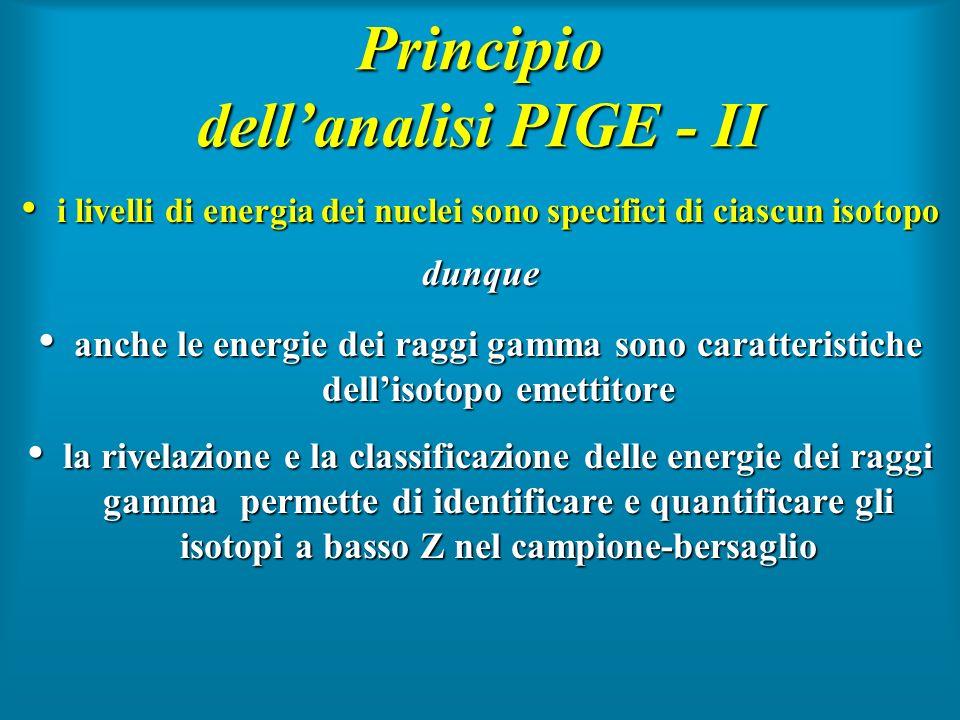 Principio dellanalisi PIGE - II i livelli di energia dei nuclei sono specifici di ciascun isotopo i livelli di energia dei nuclei sono specifici di ci