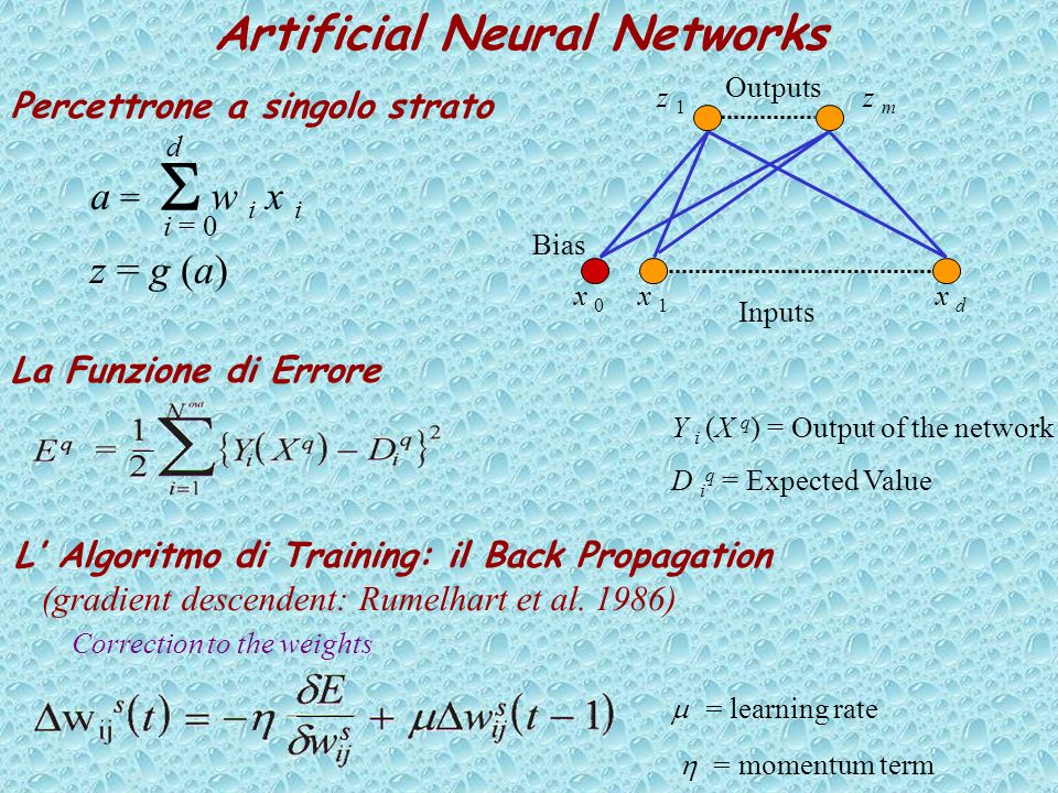 Artificial Neural Networks Percettrone a singolo strato Bias Inputs Outputs x 0x 0 x 1x 1 x dx d z m z 1z 1 a = w i x i i = 0 d z = g (a) La Funzione