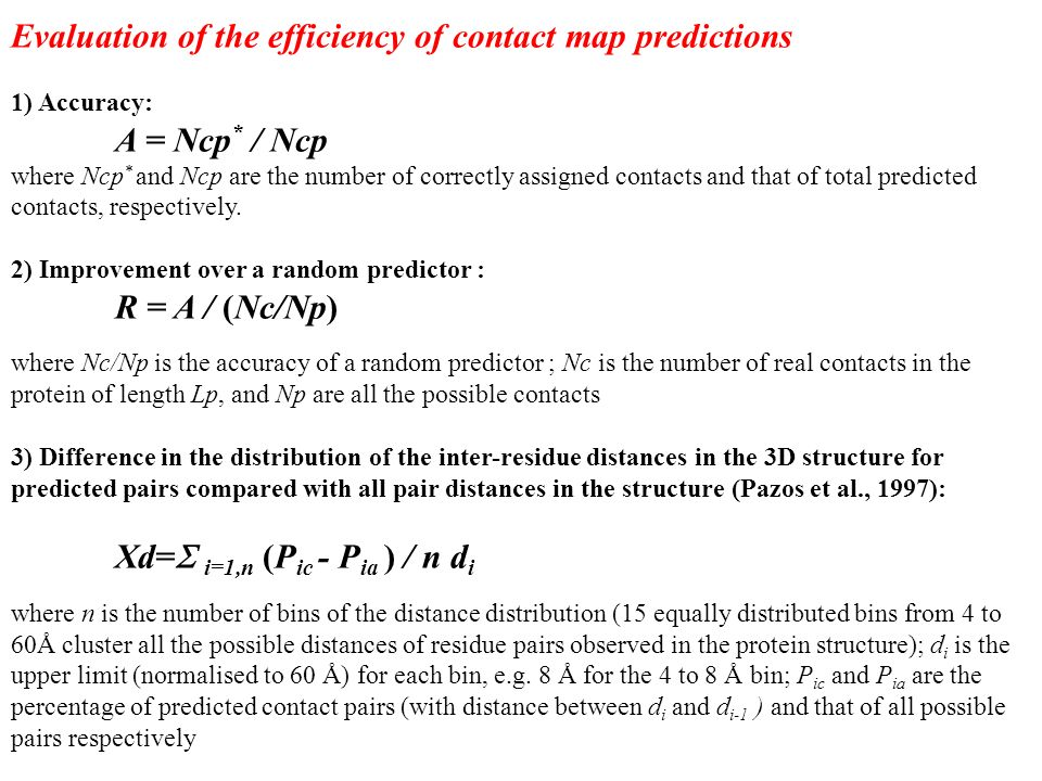 Evaluation of the efficiency of contact map predictions 1) Accuracy: A = Ncp * / Ncp where Ncp * and Ncp are the number of correctly assigned contacts