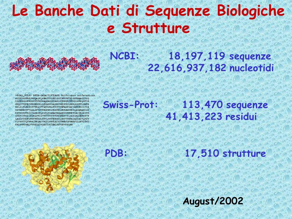 Possiamo estrarre dal PDB circa 1500 esempi di catene di cui e nota la struttura terziaria al fine di ricavare informazioni non ridondanti per la relazione tra sequenza e: Struttura secondaria Motivi strutturali e funzionali Struttura terziaria (3D)