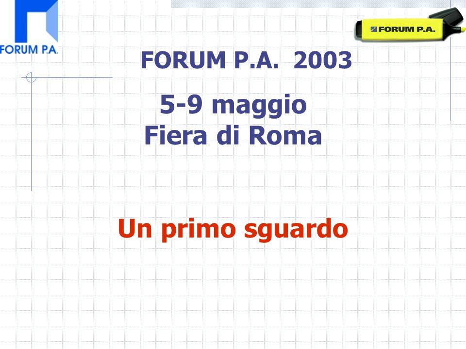 FORUM P.A. 2003 5-9 maggio Fiera di Roma Un primo sguardo